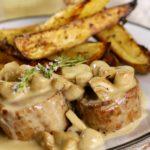 Pork Tenderloin Steaks with Mushroom Cream Sauce