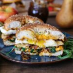 PEAR APPLE CHEDDAR CARAMELIZED ONION GRILLED CHEESE BAGEL SANDWICH