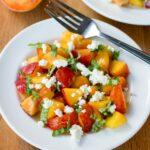 Fresh Peach Salad Recipe with Basil