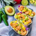 Shrimp Tacos With Avocado, Mango And Pineapple Salsa
