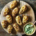 Shrunken potato heads with slime dip recipe